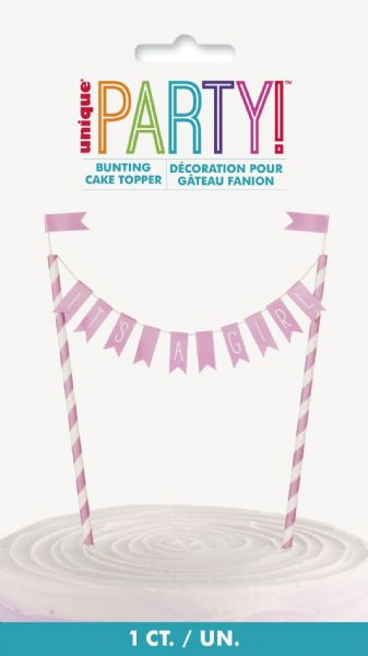 Pink Hearts Baby Shower It's A Girl Bunting Cake Topper